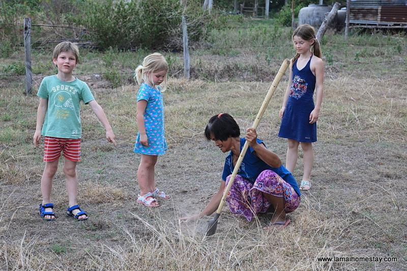 taking the children food foraging