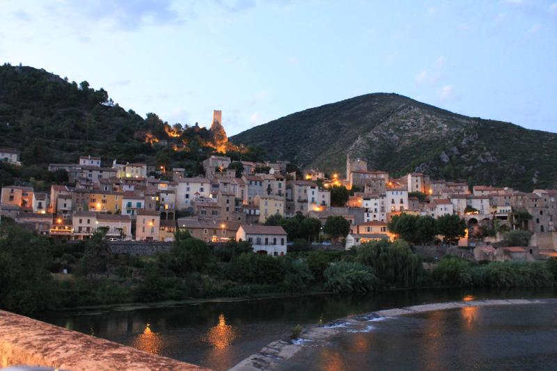 The town of Roquebrun at dusk