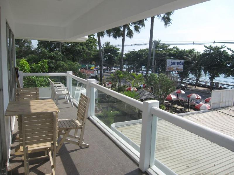 Large balcony overlooking the beach and ocean