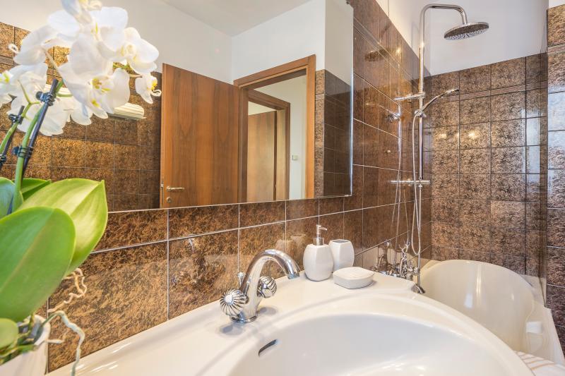 Sur des salles de bains spacieuses avec baignoire et douche