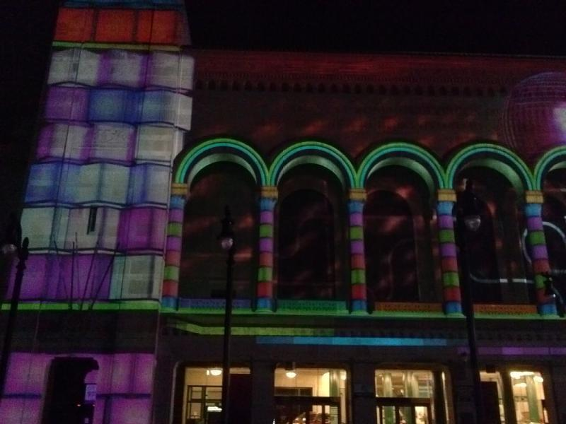 Free 3-D light show on boardwalk hall.  Runs every half hour in the evening.