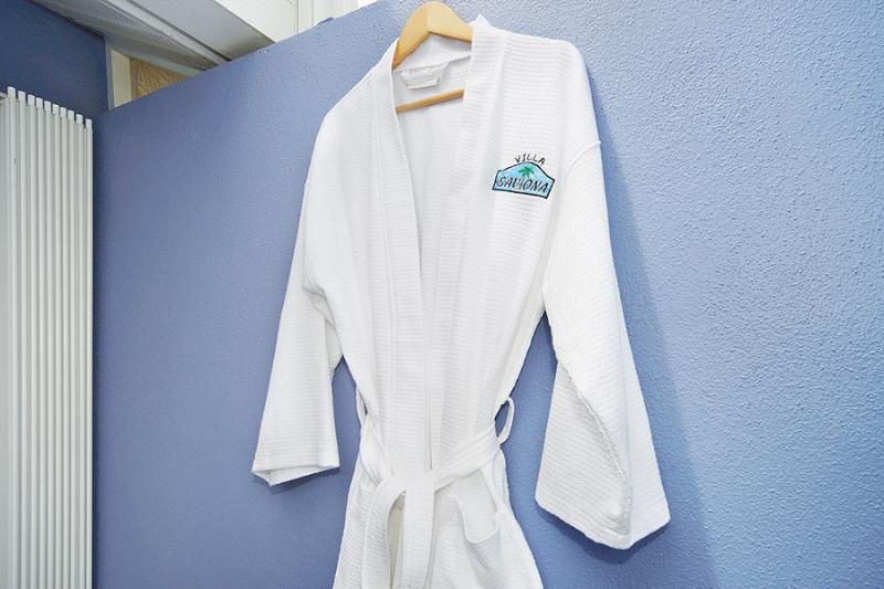 Logo-ed spa robes {his n' hers!} for Master Bedroom.