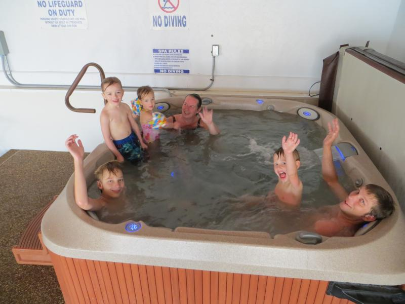 Enjoy the indoor tub.That holds eight people.