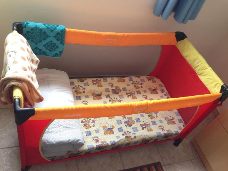 Baby Bed with mattress, quilt and blanket (in winter).