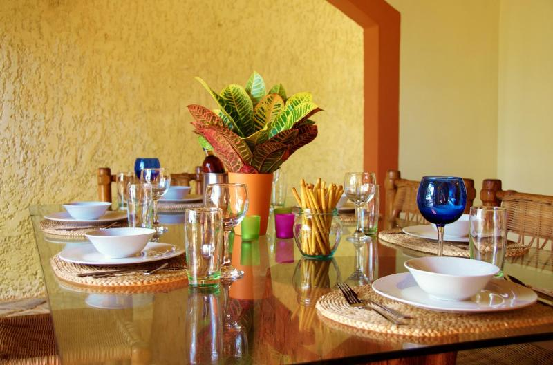 The kitchen is well equipped with everything you'll want to set a beautiful table.