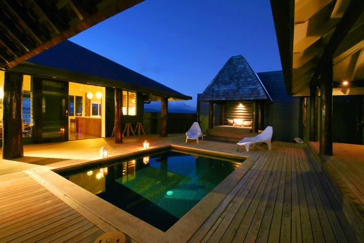 Pod House Pool at sunset in Savusavu, your very own private plunge pool
