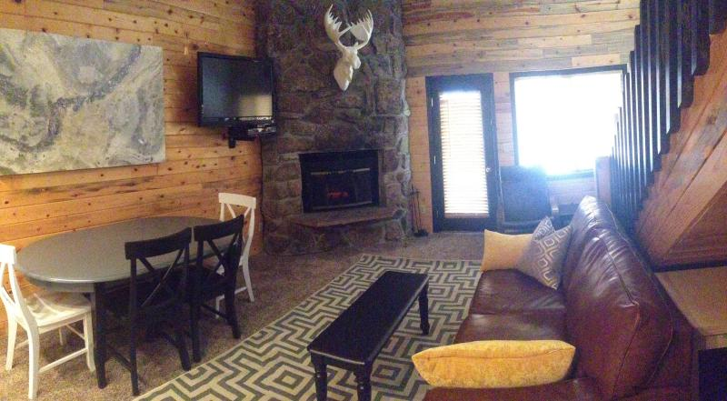 Main great room open to kitchen with fireplace. also is also a sleeper