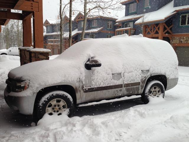 Our car on the drive. Getting snowed-in on a ski-in/ski-out day