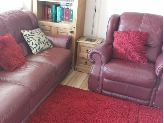 3 Seater Red Leather Sofa with recliners. Red Leather Armchair with recliner.