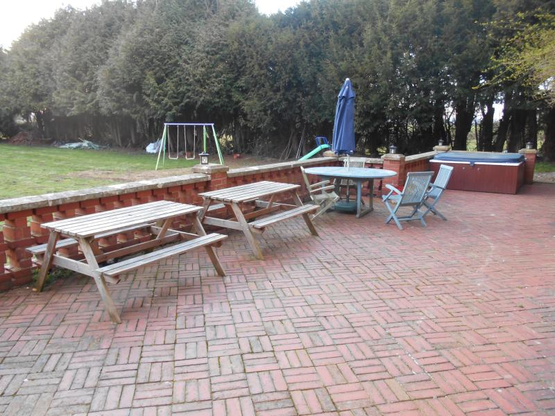 Terrace with BBQs / seating & tables and Hot Tub area