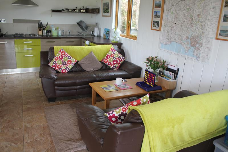 Comfy sofas in the Cow Shed Kitchen-relax and enjoy your surroundings