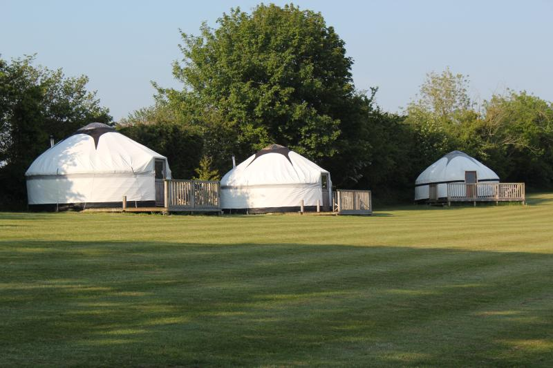 Our wonderful yurts are in a secure two acre paddock-plenty of space to play or relax