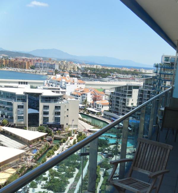 Far reaching mediteranean terrace view to Estepona and beyond