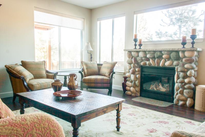 Cozy gas fireplace perfect for family gatherings and conversation