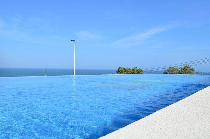 Infinity pool with lovely sea views