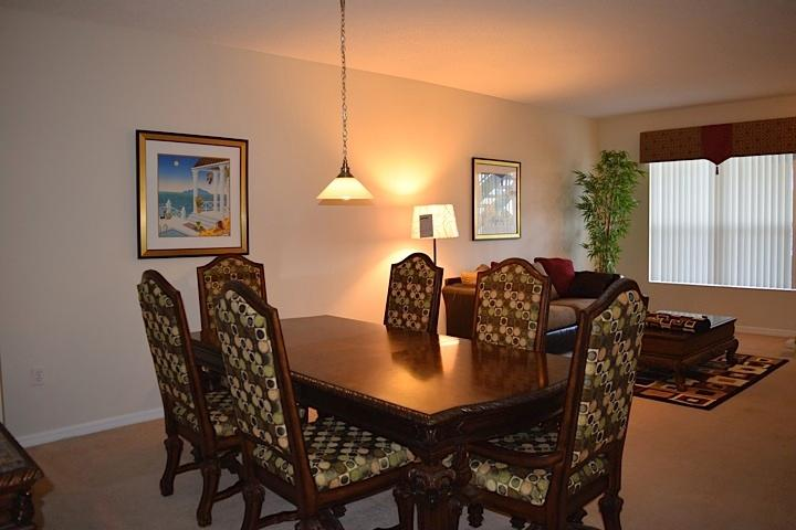 Large open dining area with seating for 6, or eat at the kitchen counter
