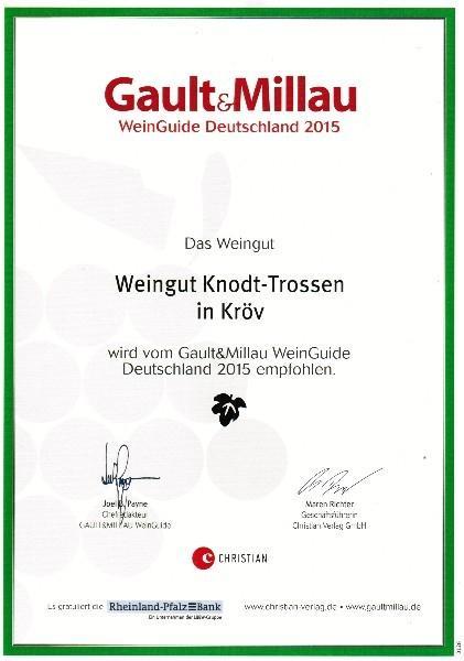 empfohlen Gault Millau Wein Guide Deutschland 2015