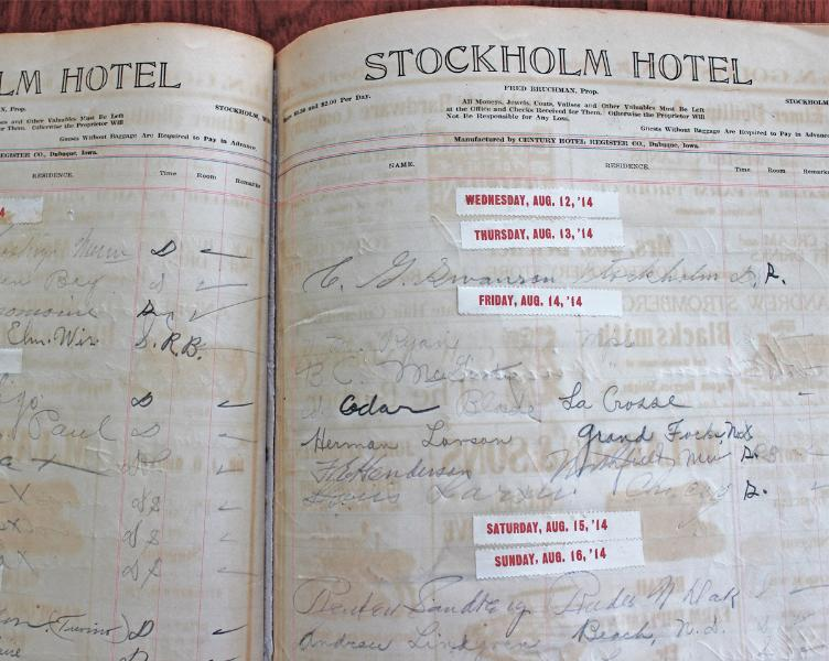 The original registry of the hotel from the early 1900's