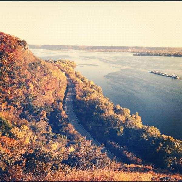 This is the famous view off of Maiden Rock Bluff overlooking Lake Pepin, you can hike this view !!!!