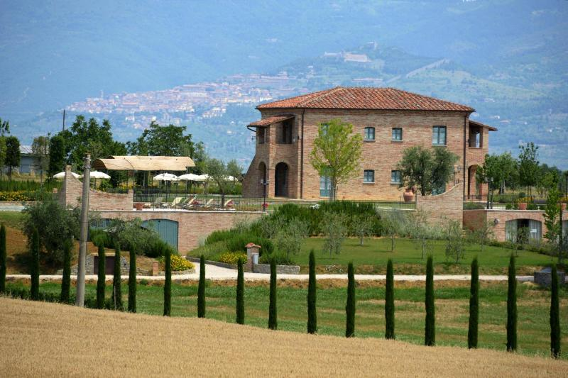 View of the Holiday Villa with Cortona in the background