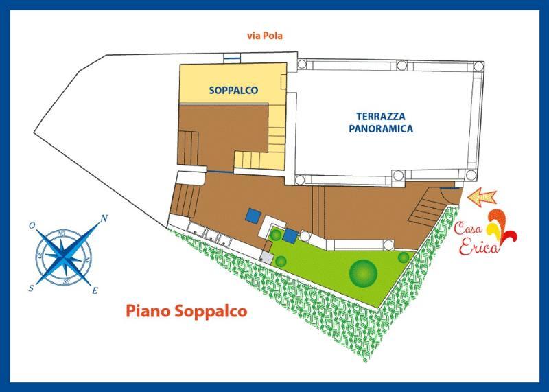 Planimetria del piano del soppalco, che dà accesso alla grande terrazza panoramica di sopra