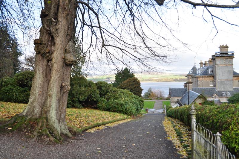 view from walled garden to river Clyde