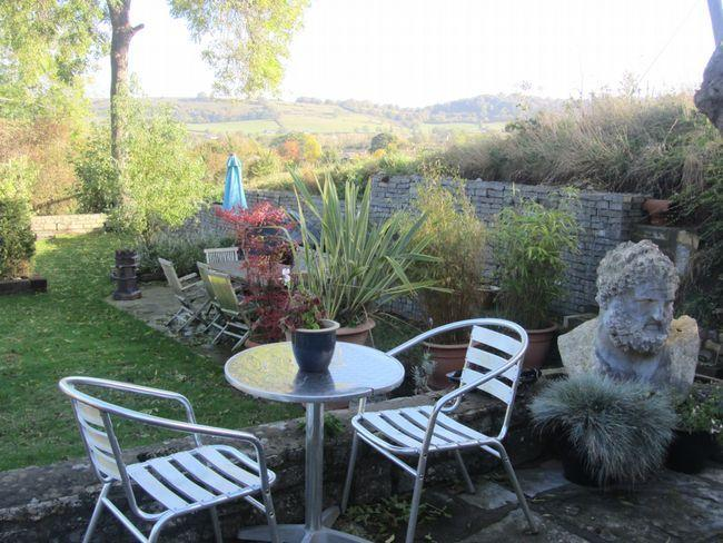 Private patio overlooking the garden and countryside