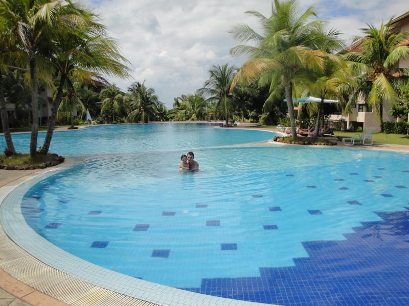 Increíble piscina de tamaño completo con una piscina para niños pequeños