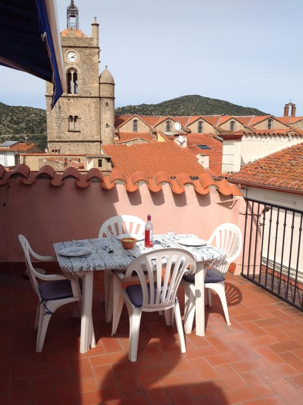 Roof Terrace and church clocktower