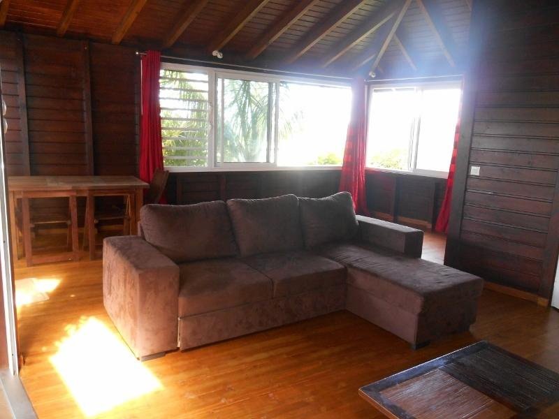 Living room with sofa bed, comfortable wooden bungalow