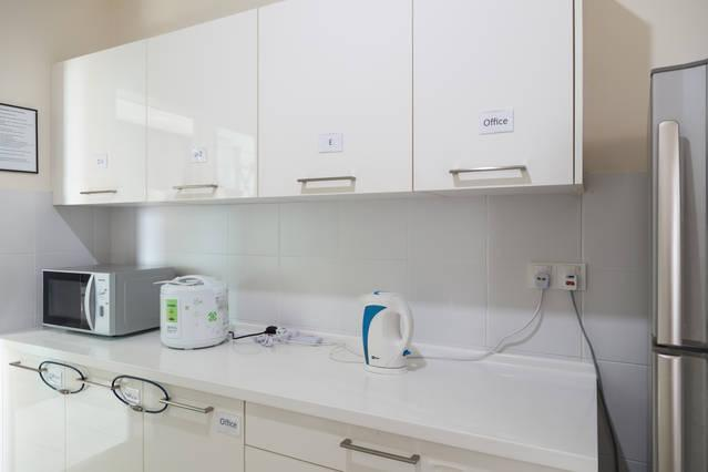 Dry Kitchen: Microwave, Kettle, Water Tap Filter & Private Cabinet for Each Rooms