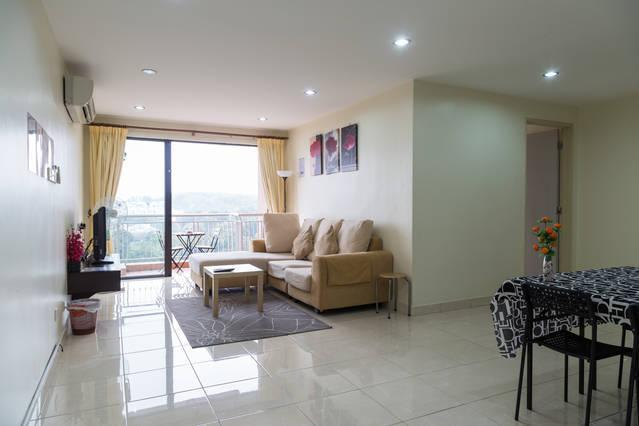 Fully Furnished 4 Bedrooms Unit: Living Room with Air cond