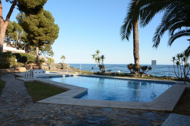 Shared pool next to the sea/Piscina compartida privada de los apartamentos