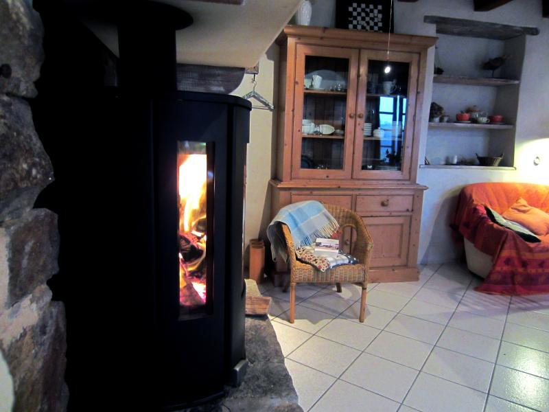 The wood stove in profile, you will bring comfort in the spring and fall.