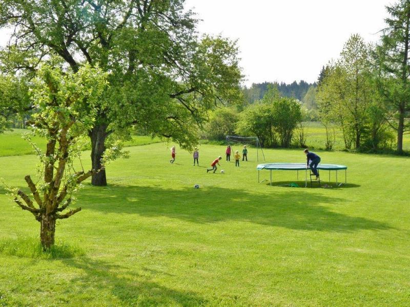 Großer Garten mit Trampolin und zwei Fussballtoren