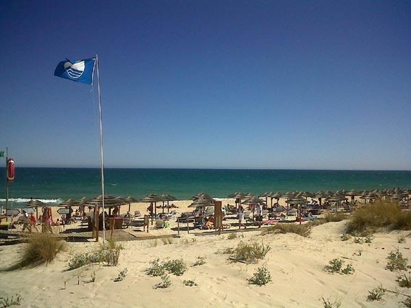 The clean uncrowded beaches of the Eastern Algarve. Cabanas.
