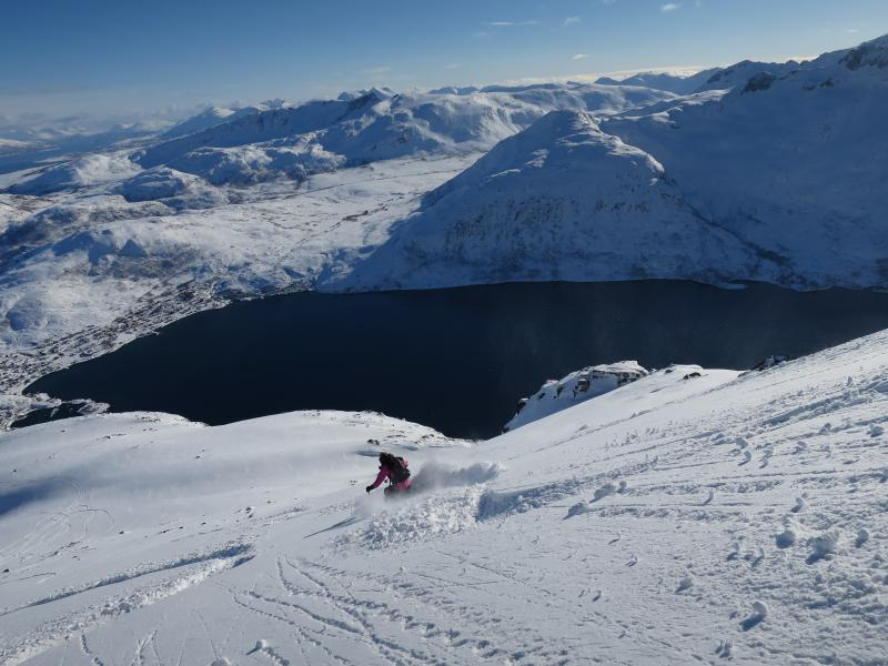Great skiing at your doorstep. Ersfjorden village visible in the background. April