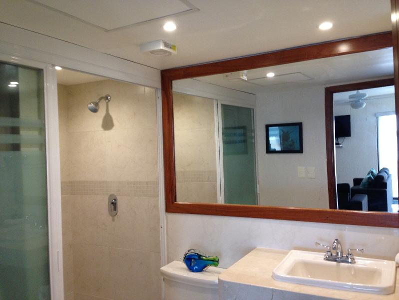 The guest bathroom, just off the living room.  Perfect for two couples or parents w/ 2 children