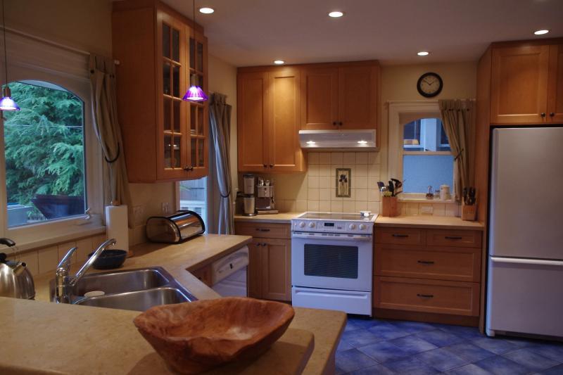Cozinha moderna - contadores de bloco de carniceiro calcário e maple, maple armários