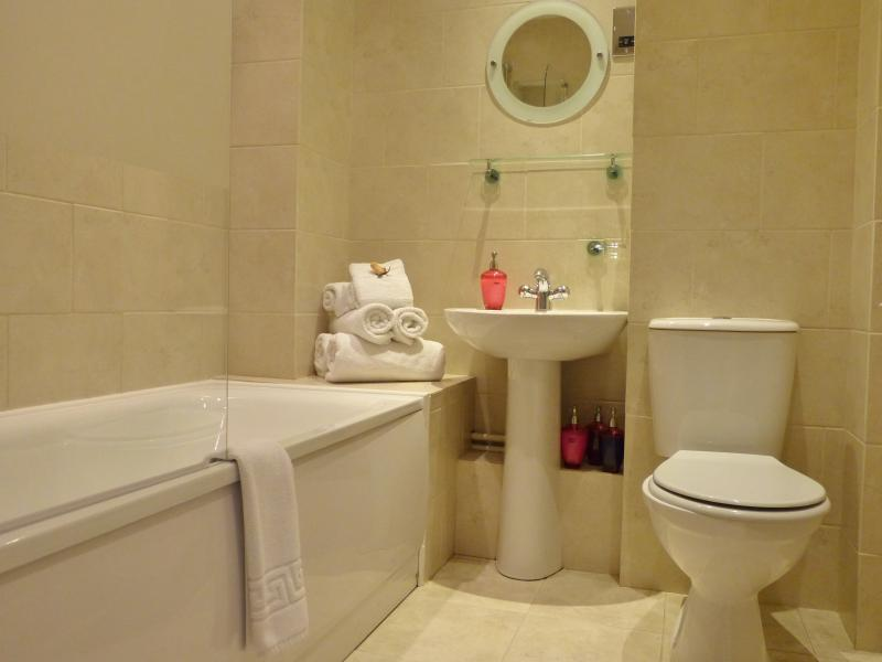 Bathroom with shower over the bath.