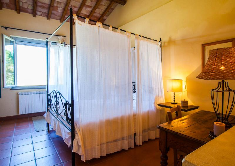 the panoramic bedroom with big window and mosquito net