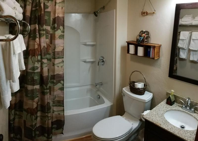 Bathroom with full bathtub/shower. Linens included