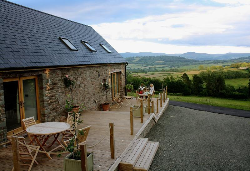 Outside The Byre with views stretching towards the Black Mountains