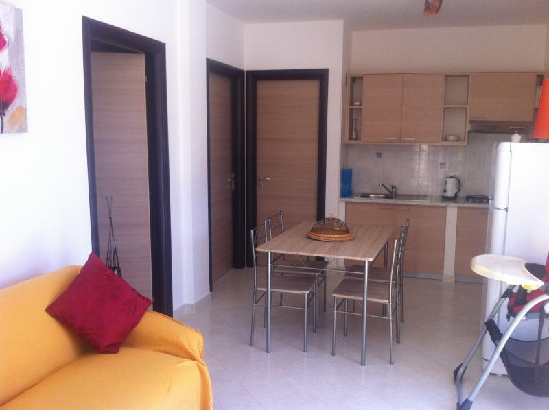 Ample living area with sofa bed and dining table and kitchen