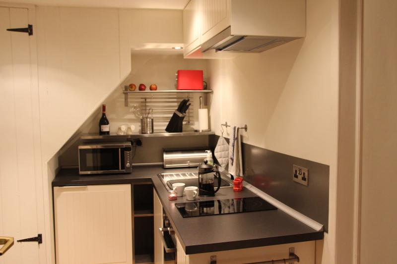 A compact but well equipped, stylish kitchen with a solid oak floor.