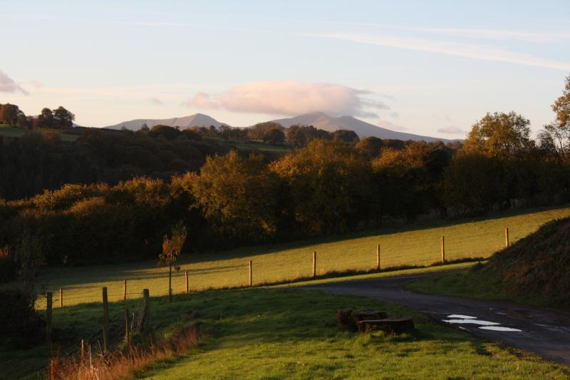 View from the decking and bedrooms towards the Brecon Beacons