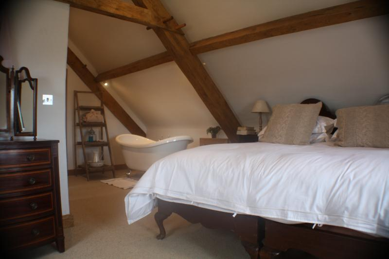 The upstairs bedroom with views of the Brecon Beacons and the Black Mountains
