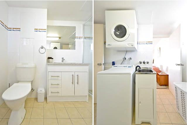 Ensuite off main bedroom (left). Laundry (right).