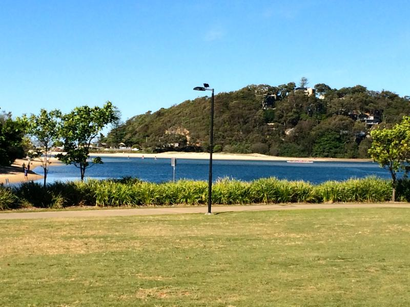 The outlook over Currumbin Estuary from Dune Cafe - beautiful calm water to take a dip in.