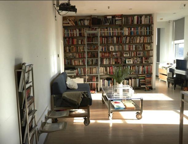 Floor to ceiling bookshelf, Steinway piano